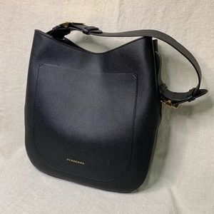 Burberry Small Elmstone Black Leather Hobo Bag